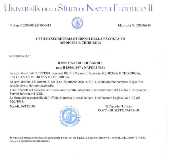Laurea in Medicina e Chirurgia Fisiatra Napoli