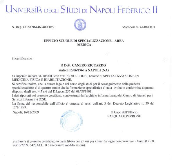Laurea Specializzazione in medicina Fisica e Riabilitazione Fisiatra Napoli