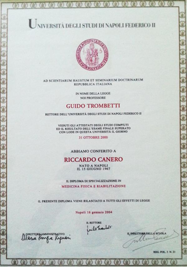 Diploma di specializzazione in medicina fisica e della riabilitazione